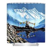 Panoramic View Of Annapurna Mountain Nepal Shower Curtain