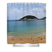 Panoramic View Of Beautiful Beach, San Sebastian, Spain  Shower Curtain