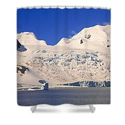 Panoramic View Of Glaciers And Iceberg Shower Curtain