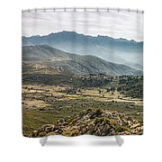 Panoramic View Of Monte Grosso And The Mountains Of Corsica Shower Curtain