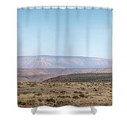 Panoramic View Of Open Desert Field In Nevada With Grand Canyon  Shower Curtain