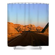 Panoramic View Of Road Going Shower Curtain