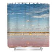 Panoramic View Of Saline Drip - Salin De Giraud Shower Curtain