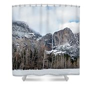 Panoramic View Of Snowed Peaks In Yosemite Park With Snow On The Shower Curtain