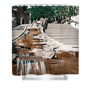 Panoramic View Of Stairs And Waterfall Shower Curtain