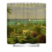 Panoramic View Of The Harbour At Nassau In The Bahamas Shower Curtain by Albert Bierstadt