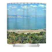 Panoramic View Of The Sea Of Galilee Shower Curtain