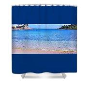 Panoramic Vision Of Devonshire  Bay, Bermuda Shower Curtain