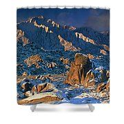 Panoramic Winter In The Alabama Hills Eastern Sierras California Shower Curtain