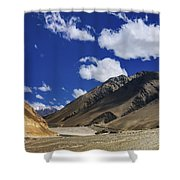 Panrama Of Mountains Ladakh Jammu And Kashmir India Shower Curtain
