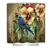 Pansies And Bluebird Shower Curtain