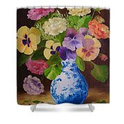 Pansies And Ranunculus Shower Curtain