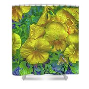 Pansies - Coloring Book Effect Shower Curtain