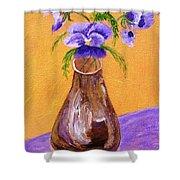 Pansies In Brown Vase Shower Curtain by Jamie Frier