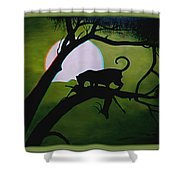 Panther Silhouette - Use Red-cyan 3d Glasses Shower Curtain