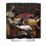 Pantry Scene With Servant By Frans Snyders Shower Curtain