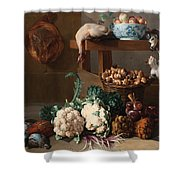 Pantry With Artichokes Cauliflowers And A Basket Of Mushrooms Shower Curtain