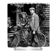 Papa With Charles On Bicycle, Fred On Porch Shower Curtain
