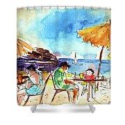Papagayo Beach Bar In Lanzarote Shower Curtain