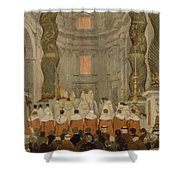 Papal Ceremony In St Peter In Rome Under The Canopy Of Bernini Shower Curtain