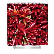 Paprika Peppers At A Market Stall. Shower Curtain