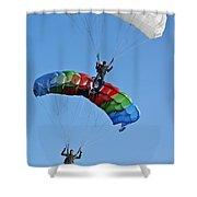 Parachutists Biplane Shower Curtain