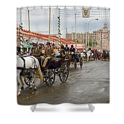 Parade Of Horse Drawn Carriages On Antonio Bienvenida Street Wit Shower Curtain