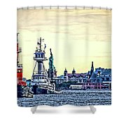 Parade Of Tugs, Hudson River, New York City Shower Curtain