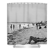 Paradise Beach In Black And White Shower Curtain
