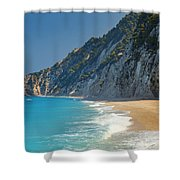 Paradise Beach With Blue Waters Shower Curtain