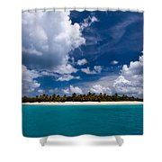 Paradise Is Sandy Cay Shower Curtain by Adam Romanowicz