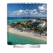 Paradise - Isla Mujeres - Playa Norte, Aerial Image Shower Curtain