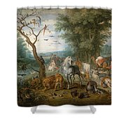 Paradise Landscape With Animals Shower Curtain