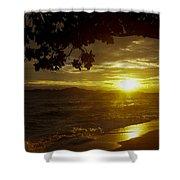 Paradise Lensflare Beach Sunset #9412 Shower Curtain