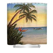 Paradise With Dolphins Shower Curtain