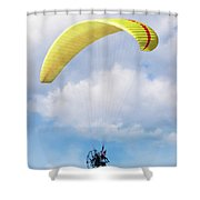 Paraglider Floating In The Clouds Shower Curtain