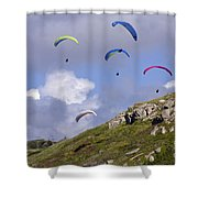 Paragliding Over Sennen Cove Shower Curtain