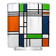 Parallel Lines Composition With Blue Green And Orange In Opposition Shower Curtain by Oliver Johnston
