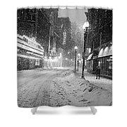 Paramount Snowstorm Boston Ma Washington Street Black And White Shower Curtain