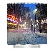 Paramount Snowstorm Boston Ma Washington Street Shower Curtain