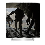 Paratroopers Jump Out Of A Kc-130j Shower Curtain