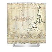 Parchment Paris - City Of Light Chandelier Candelabra Chalk Shower Curtain