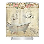 Parchment Paris - Le Bain Or The Bath Chandelier And Tub With Roses Shower Curtain