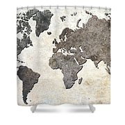 Parchment World Map Shower Curtain