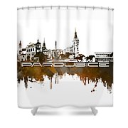 Pardubice Skyline City Brown Shower Curtain