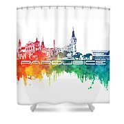 Pardubice Skyline City Color Shower Curtain