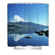 Parinacota Volcano Reflections Chile Shower Curtain