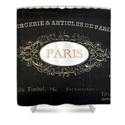 Paris Black And White Gold Typography Home Decor - French Script Paris Wall Art Home Decor Shower Curtain