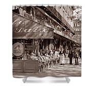 Paris Cafe 1935 Sepia Shower Curtain