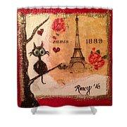 Paris Cat  Shower Curtain